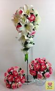 Cream white foam lily silk pink/cream white roses wedding bouquet flowers set