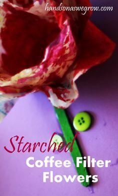 Starched Coffee Filter Flowers Craft for kids.    #kidscrafts #kids #crafts