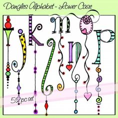 Dangles Alphabet - Lower Case is a whimsical watercolor alphabet with and without colorful dangles for a total of 52 letters. All of the letters are close to the same size but the length of the dangles varies. Tangle Doodle, Tangle Art, Doodles Zentangles, Doodle Lettering, Creative Lettering, Lettering Styles, Doodle Fonts, Alphabet A, Doodle Alphabet