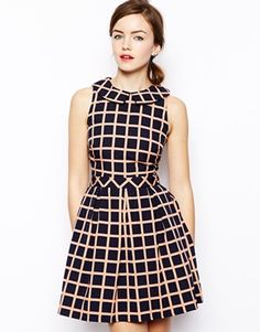 ASOS Structured Skater Dress In Check with Collar