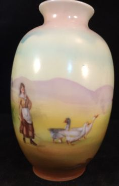 Royal-Bayreuth-Bavaria-porcelain-4-1-4-Vase-HP-with-lady-herding-geese