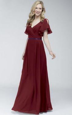 4ff9e03beca Short Sleeves Natural V-neck Chiffon Floor-length Bridesmaid Dresses