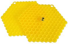 """100 Goods Silicone Bee on Honeycomb All-weather Suction Lid , 8"""", Set of 2 Yellow 100 Goods http://www.amazon.com/dp/B014H1T9DG/ref=cm_sw_r_pi_dp_ZQ44wb1AWD870"""