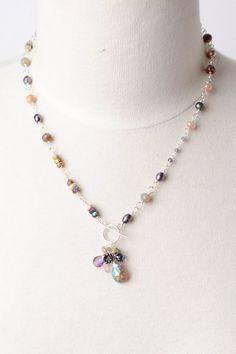 "Smitten 19.5"""" Gemstone Cluster Pendant Necklace"