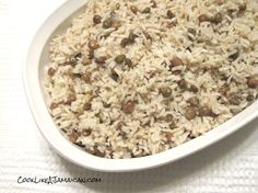 Jamaican Gungo Peas and Rice Recipe Side Dishes with peas, water, creamed coconut, onions, garlic, dried thyme, salt, pepper, water, long-grain rice