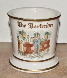 Antique Occupational Shaving Mug BARTENDER Porcelain Mug by AcquiredAntiqueCo on Etsy