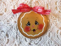 HP Christmas gingerbread face with bow ORNAMENT hand painted collectible