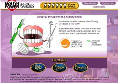 """Mouth Power Online (National Museum of Dentistry) Nice oral health interactive for kids. After completing each """"lab lesson"""" they earn a tooth. When all 6 lessons are completed they. Dental Health Month, School Health, Oral Health, Science Education, Health Education, Physical Education, Dental Hygiene, Dental Care, Health Activities"""