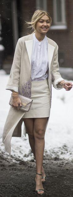 Gigi Hadid all white street style at fashion week