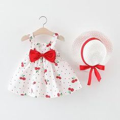 Children's Clothing Baby Girl Clothes Summer Party Clothing For Girls Dress Cherry Dot Princess Dresses Bow Hat Outfits, Ropa de niña, Baby Outfits, Girls Summer Outfits, Outfits With Hats, Summer Clothes, Boho Fashion Summer, Toddler Girl Dresses, Toddler Outfits, Girls Dresses, Casual Dresses