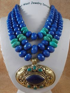 Gypsy Cowgirl Necklace Set - Chunky Jade - Lapis - Howlite Turquoise - Western Statement - Tribal - pinned by pin4etsy.com