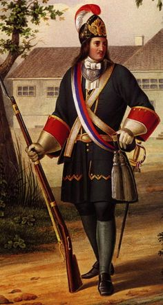 Peter the Great wearing the uniform of a Grenadier Senior officer in the Life-Guards Preobrazhensky regiment from the reign of Peter I (1686-1725 AD).