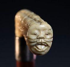 Antique Japanese Carved Ivory Cane/Walking Stick