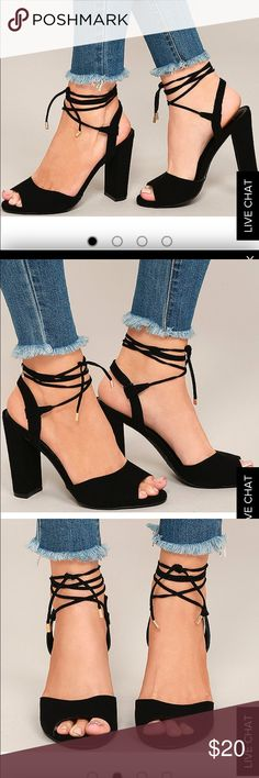 NEW Lulu's black strapped wedges- size 8 New still in box Lulu's Shoes Wedges