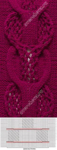 Knit stitch sample and chart Lace Knitting Patterns, Knitting Stiches, Cable Knitting, Knitting Charts, Knitting Designs, Knitting Projects, Crochet Stitches, Hand Knitting, Stitch Patterns