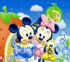 fotos de mickey mouse bebe con Minnie y pluto
