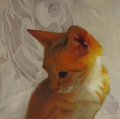 "Daily Paintworks - ""Forever Young II, orange kitten, random musings about the color yellow"" - Original Fine Art for Sale - © Diane Hoeptner"