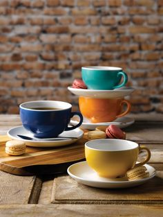 Multi-Coloured Coffee Cups! Available from Hugh Jordan.