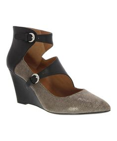 Look what I found on #zulily! Taupe & Black Arianna Leather Wedge #zulilyfinds
