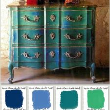 Painted Furniture Inspiration : Sugggestions of Annie Sloan Chalk Paint® for similar finish :: Napoleonic Blue, Greek Blue, Florence, Antibes Green, Gilding Wax :: at Leslie Stocker - Amazing House Design Chalk Paint Furniture, Furniture Projects, Furniture Makeover, Diy Furniture, Vintage Furniture, Green Furniture, Blue Painted Furniture, Annie Sloan Painted Furniture, Bohemian Furniture