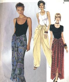 Vintage McCalls 7682 Misses Tie Front Wrap Pants and Tie Front Scarf Skirt… Skirt Patterns Sewing, Clothing Patterns, Skirt Sewing, Skirt Fashion, Fashion Outfits, Sarong Skirt, Wrap Pants, Couture, Pants Pattern