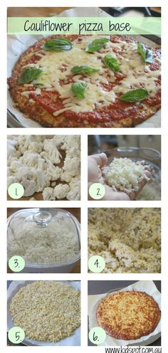 This cauliflower pizza base is a great low-carb way to have your pizza and eat it too. You can also use this pizza to sneak vegetables into your kid's diet Paleo Recipes, Whole Food Recipes, Cooking Recipes, Budget Recipes, Delicious Recipes, Healthy Cooking, Healthy Snacks, Healthy Eating, Healthy Pizza