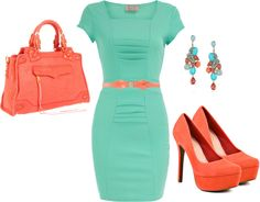Coral && Mint, created by aerielepatrice on Polyvore