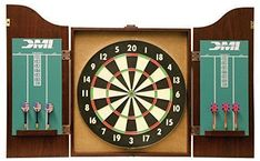 DMI Sports Recreational Dartboard Cabinet Set - Includes Dartboard, Two Dart Sets, and Traditional Chalk Scoring Leather Chesterfield Chair, Dart Board Cabinet, Dart Set, Skee Ball, Inside Cabinets, Inside Doors, Happy Husband, Air Hockey
