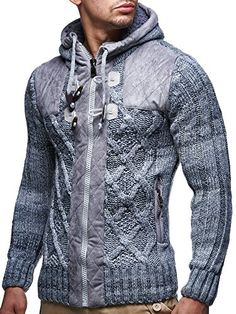 Leif Nelson Men's Knit Jacket X-Large Grey Leif Nelson Mens Fashion Sweaters, Casual Sweaters, Men Sweater, Winter Outfits Men, Stylish Mens Outfits, Winter Clothes, Jacket Style, Jeans Style, Leif Nelson