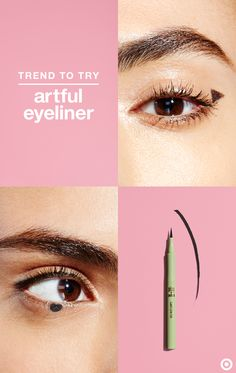 Black eyeliner goes graphic this fall with artful, understated applications. Use liquid liner like Pixi's Lash Line Ink in Black Silk to draw small triangles at the outer corner of each eye—it's a playful take on the classic cat eye. Or, draw small dots on the center of the lower-lash line for a fun, mod look.