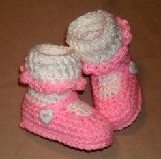 Custom Handmade Hand Crocheted Crochet Pink White Lacy Mary Jane Baby Booties | eBay