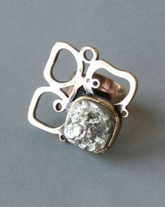 Pentti Sarpaneva, vintage bronze and pyrite ring, 1970's. #Finland | Wemodernism.com