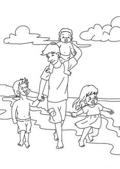Daddy teaching kids to ride a bike coloring page. Let your imagination soar and color this Daddy teaching kids to ride a bike coloring page with the . Beach Coloring Pages, Fathers Day Coloring Page, Drawing Projects, Drawing Ideas, Scene Kids, Beach Kids, Drawing For Kids, Happy Fathers Day, Teaching Kids