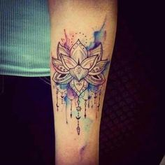 Watercolor Mandala Lotus Tattoo Design For Forearm Lotusblume Tattoo, Piercing Tattoo, Body Art Tattoos, New Tattoos, Tattoo Forearm, Tatoos, Tattoo Blog, Chakra Tattoo, Yoga Tattoos