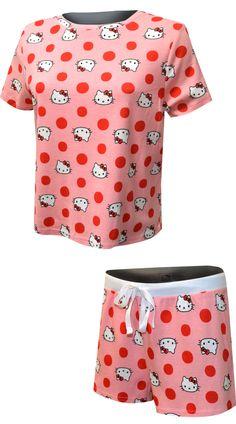 Hello Kitty Pink Polka Dot Shortie Plus Size Pajamas Family Pajama Sets, Crop Tee, Tee Shirt, Plus Size Pajamas, Best Pajamas, Miss Kitty, Matches Fashion, Pink Polka Dots, Girls Sizes