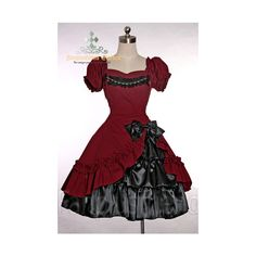 Gothic Lolita Bias Trimmings Pearls Dress& Silk Skirt 2pcs Set ❤ liked on Polyvore featuring dresses, lolita, red silk dress, gothic clothing dresses, gothic lolita dress, silk dress and goth dress