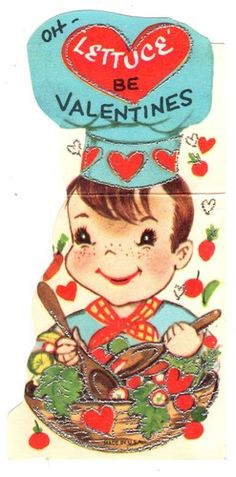 Cute Chef Makes A Salad Oh Lettuce Be Valentines Vintage Valentine Card