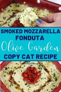 This Smoked Mozzarella Fonduta is a copycat for the popular recipe from Olive Garden. Made with Italian cheeses and sour cream, this dish is a smokey, creamy, cheesy favorite. Serve alongside toasted bread for the perfect appetizer or side dish. Easy Dinner Recipes, Holiday Recipes, Great Recipes, Easy Meals, Favorite Recipes, Copycat Recipes, Crockpot Recipes, Good Food, Yummy Food