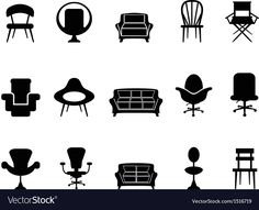 Chair icons vector image on VectorStock Contemporary Dining Chairs, Modern Chairs, Free Vector Images, Vector Free, Architect Jobs, Single Image, Fabric Sofa, Living Room Chairs, Scandinavian