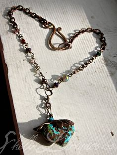 Hunk of Heart Shaped Turquoise and Handwired chain $145 http://shelbilavender.com/necklaces-2/6772405421_d9becda09a_z/ Direct link