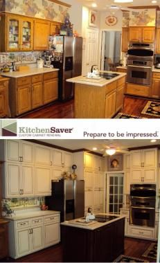 Kitchen Saver transformed a crowded kitchen into a beautiful white full of storage at a fraction of remodeling cost through a combination approach called Renewal.