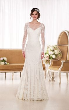 Vintage Lace Wedding Dress by Essense of Australia. Fit and flare. Neckline: sweetheart w/ illusion bateau. Fit And Flare Wedding Dress, 2016 Wedding Dresses, Formal Dresses For Weddings, Wedding Dress Shopping, Wedding Dress Sleeves, Bridal Dresses, Dress Wedding, Lace Sleeves, Dresses 2016