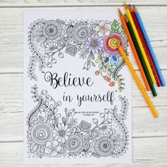 Believe in yourself adult colouring pages - three beautiful believe in yourself colouring pages. Each one is more intricate than the previous and is a wonderful inspirational colouring page perfect for adults and tweens.