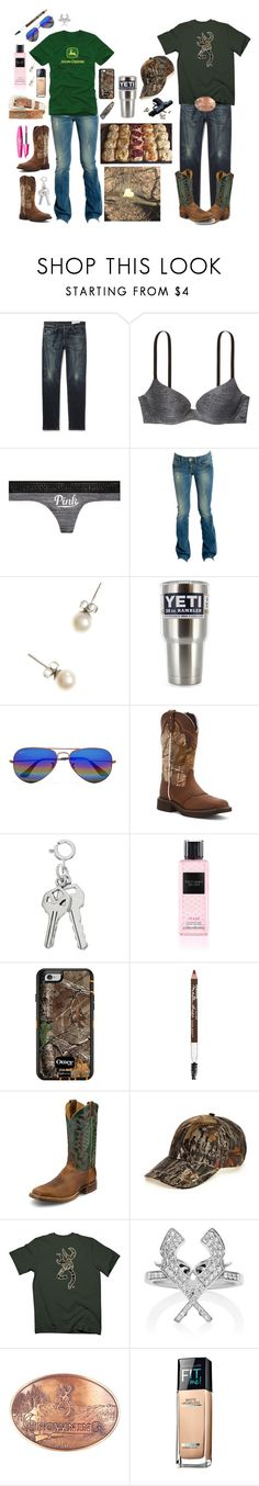 """""""So, there's this guy 🐰💕"""" by pistols-n-pearls ❤ liked on Polyvore featuring rag & bone, Victoria's Secret PINK, Victoria's Secret, GUESS, COVERGIRL, J.Crew, Ray-Ban, Nocona, Justin Boots and Maybelline"""