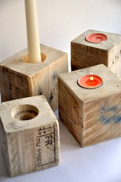 reclaimed wood candle holder industrial rustic pallet candle holder modern upcycled shabby chic table decor tea light candle stick set of 4 Shabby Chic Candle Holders, Modern Candle Holders, Wood Candle Holders, Rustic Candles, Diy Candles, Diy Plants, Christmas Candle Holders, Diy Centerpieces, Living At Home