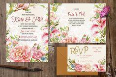 Watercolor DIY floral graphics set by Digital art shop on @creativemarket