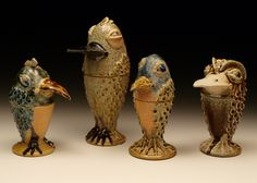 Dan Finnegan - Studio Pottery: Flounder Shaped Fowl and Lidded Jars
