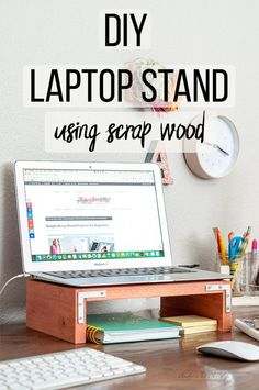 Easy DIY Laptop Stand Using Scrap Wood (PLANS) – Anika's DIY Life Love this easy tutorial for a DIY laptop stand for desk. This wooden laptop stand is simple and this tutorial shows how to make it along with a template and plans! Diy Laptop Stand, Wooden Laptop Stand, Beginner Woodworking Projects, Woodworking Wood, Woodworking Square, Easy Woodworking Ideas, Woodworking Supplies, Woodworking Classes, Woodworking Videos