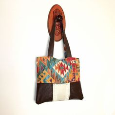 Southwestern Bag Tribal Print Upcycled Leather Tote Purse Unique EcoFriendly Handmade on Etsy, $26.00