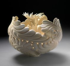 JUNGLE LEAF FLOWER :: Porcelain Vessels by Jennifer Mccurdy